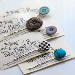 Two Busy Bees Vintage Button Bobby Pins