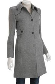 Via Spiga Smoke Grey Wool Blend Graphico Coat