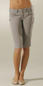 Vince Stone Washed Twill Knee Crop Shorts