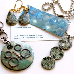 Necklaces, keychains, and earrings from Wasabi Brooklyn