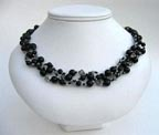 Woven Black Onyx and Swarovski Crystal Necklace