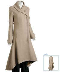 Ya Ya khaki wool tweed fishtail long coat