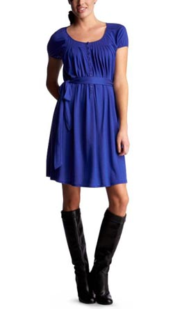 Pleated Tie Waist Dress