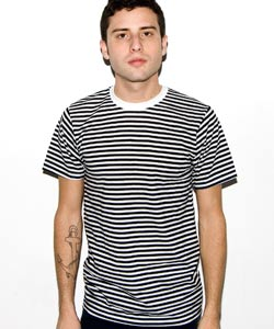 Poly Cotton Stripe Crew Neck