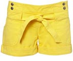 Bright Yellow Belted Shorts