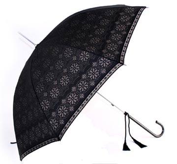Eliza Black Devore Lace Umbrella
