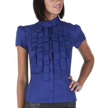 Go International High Collar Short-Sleeve Shirt with Ruffled Front