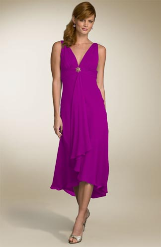Maggy London Cascade Front Chiffon Dress