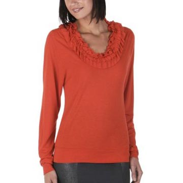 Go International Ruffled Neck Long Sleeve Top
