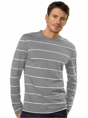 Slub Cotton Stripe Fitted Crew Tee