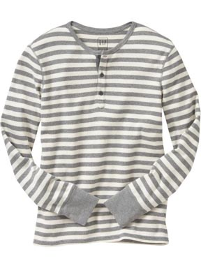 Textured Henley Striped Shirt