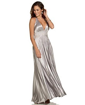 XOXO Pleated Halter Gown