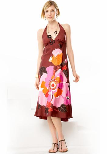 Silk Floral Print Halter Dress