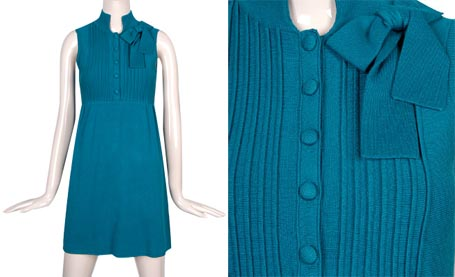Teal Pintucked Lux Sweaterdress