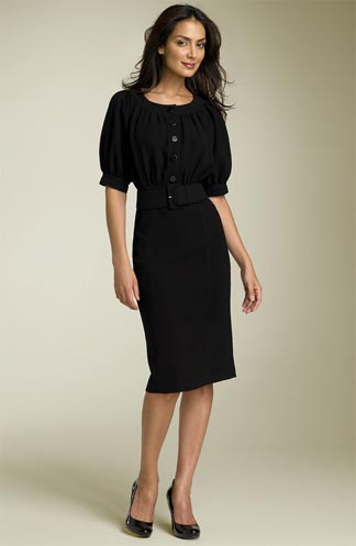 Calvin Klein Belted Crepe Dress