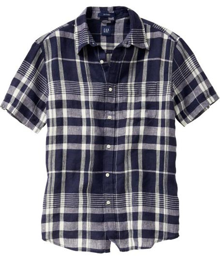 Fitted Large Check Linen Shirt