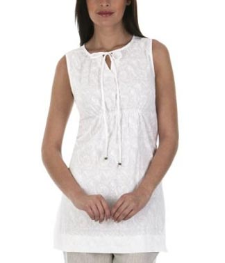 Isaac Mizrahi Spotted Shirred Tunic