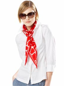 Giraffe Print Scarf in Vermillion