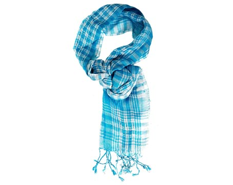 Check Lurex Long Scarf