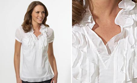 Cotton Ruffle Front Top