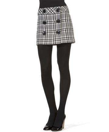 preppy skirt with tights and pumps