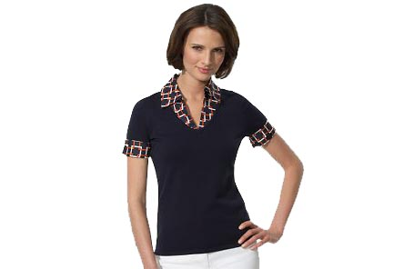 Short Sleeve Sweater with Printed Collar and Cuffs
