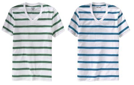 Vintage Inspired Stripe V-Neck Tees