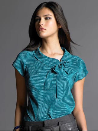 Printed Bow Tie Blouse