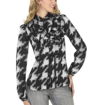 Go International Houndstooth Ruffle Top
