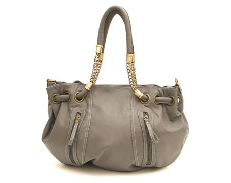 Gray Drawstring Chain Tote