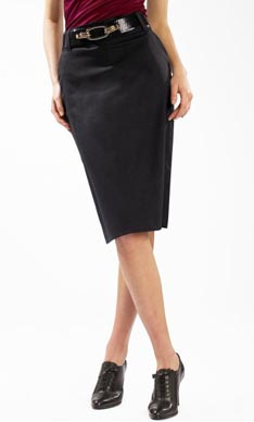 High-waisted Microstripe Skirt