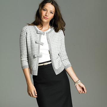 Houndstooth Bow Button Cardigan