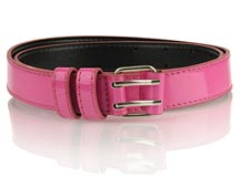 Patent Skinny Belt - Electric Pink