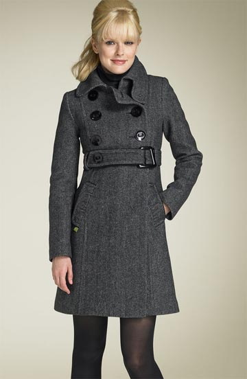 Soia & Kyo Chevron Wool Blend Coat