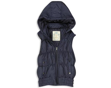 Dotted Puffed Vest with Hood