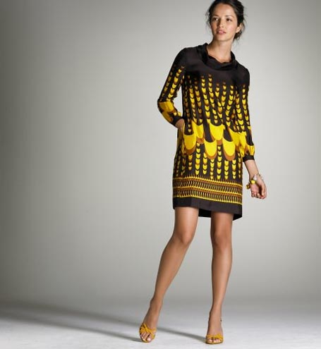 Italian Deco Print Rollneck Silk Dress