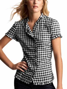 Ruffle Pocket Plaid Top