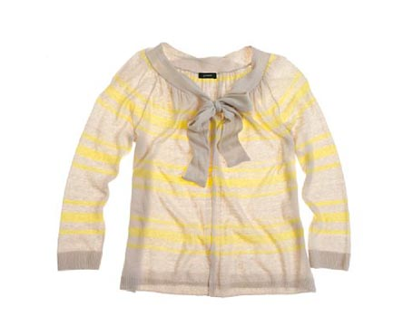 Silk Linen Striped Swing Cardigan