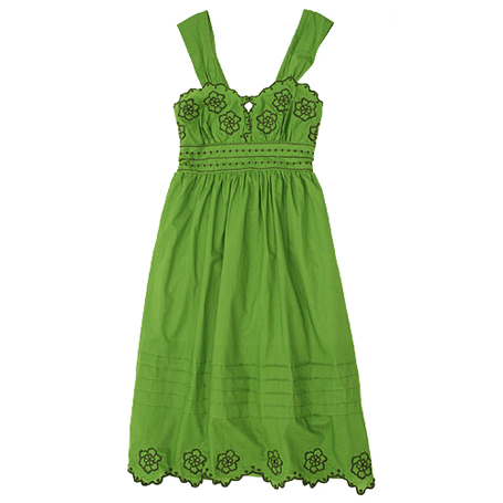 Mellow Green Embroidered Sundress