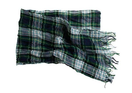 Washed Wool Tartan Scarf