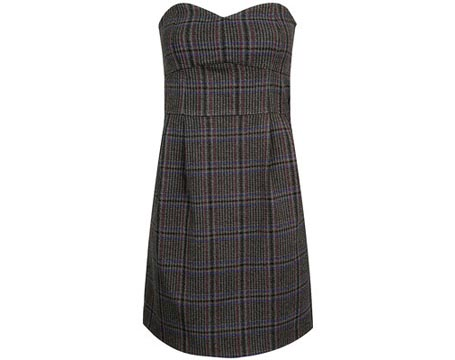 Dark Plaid Strapless Dress