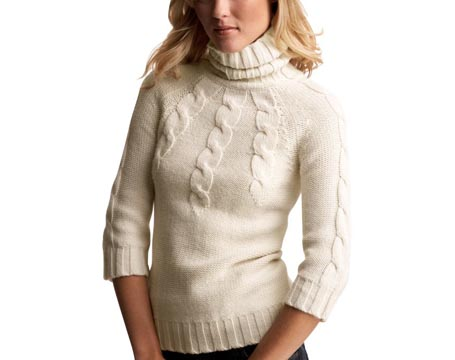 Placed Cable Turtleneck Sweater