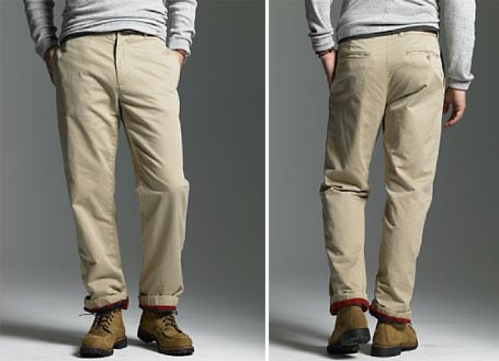 Flannel-lined chino
