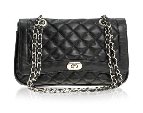 Black Quilted Chain Shoulder Bag 17