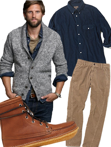 Wear a long sleeve buttoned shirt under the cardigan for a more classy, sophisticated look. The classic button-up or polo shirt can be worn to dress up a cardigan for guys. A white shirt and a tie are a popular choice for making a chic statement and can be worn with jeans or nice trousers.